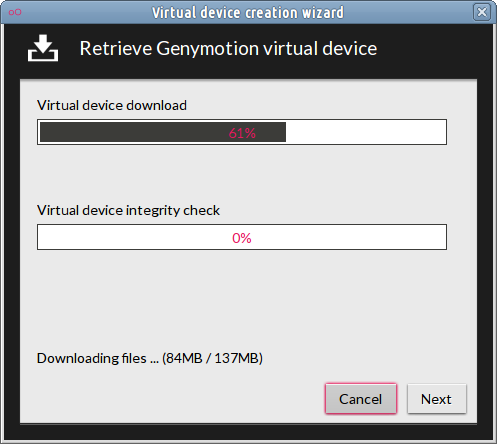 proses download-Virtual device creation wizard