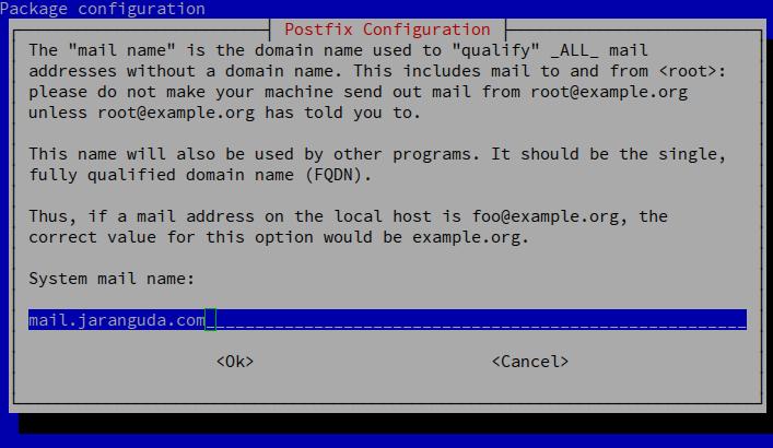 postfix configuration mai hostname
