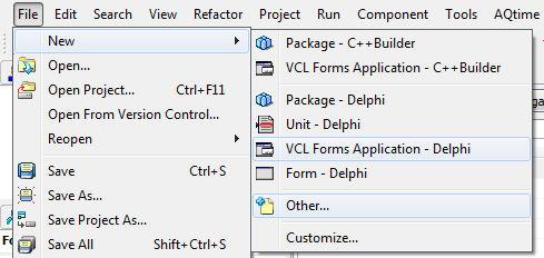 klik new delphi