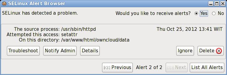 selinux error on owncloud
