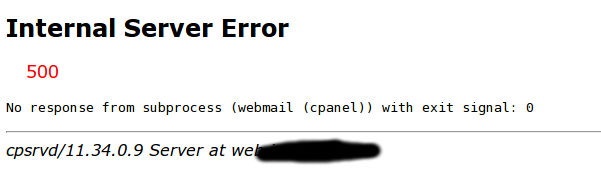 cPanel Webmail No Respond From Subprocess