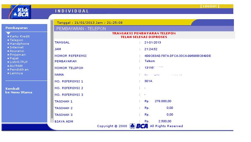 Melakukan Pembayaran Telkom Speedy Melalui KLIK BCA