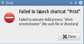 Failed to launch shortcut print