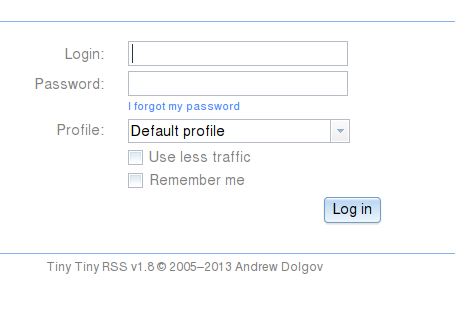 login tiny rss