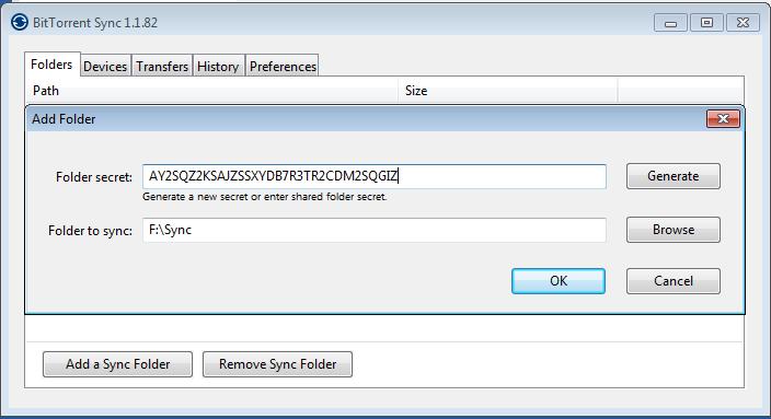 folder sync Bittorrent Sync Windows