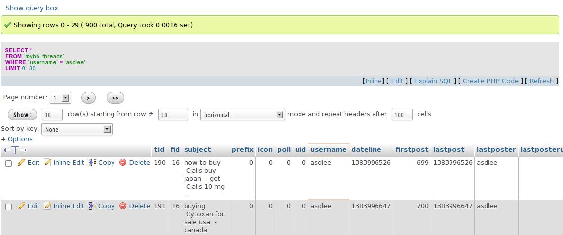 Menghapus Pesan SPAM di MyBB dengan Bantuan phpMyAdmin