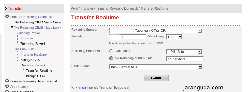 Transfer Melalui Cimb Click Ke Bca Jaranguda