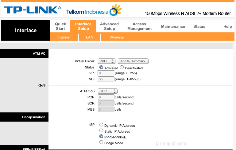 interface setup tp link