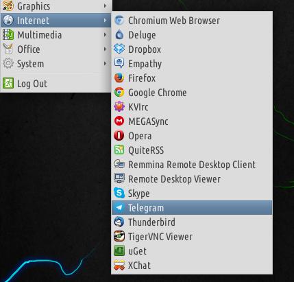 telegram apllication menu