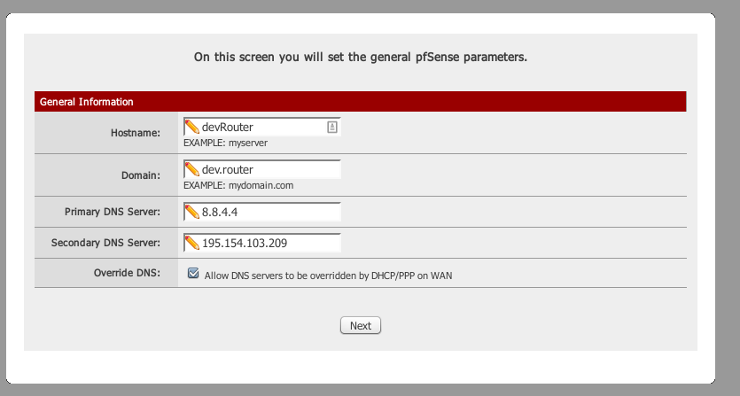 pfsense setting web