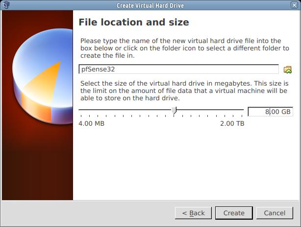 pfsense virtualbox 8 gb