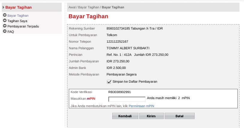 Membayar Tagihan Telkom Speedy Lewat Internet Banking CIMB Niaga