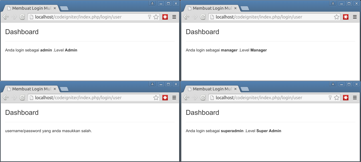 multi level login codeigniter 3