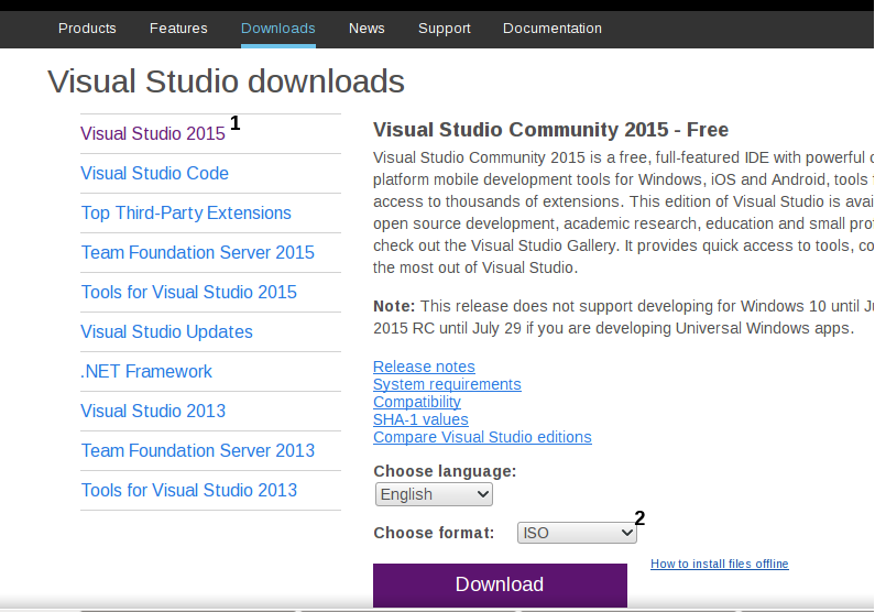 download visual studio 2015 iso