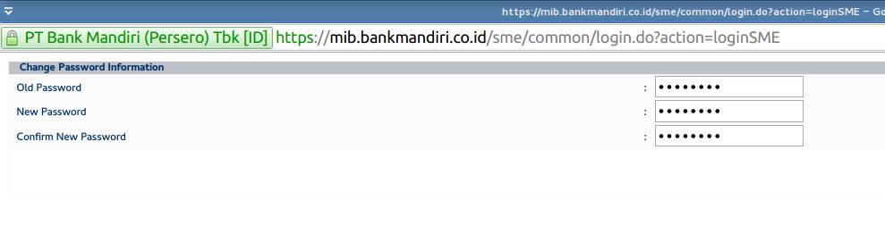 Tahap 2 Internet Banking Mandiri - Ganti Passwordnya