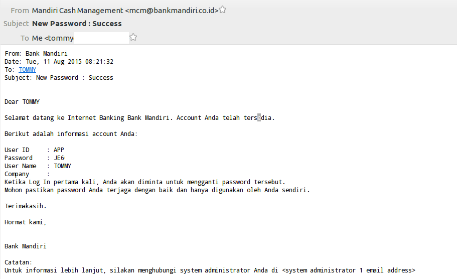 email internet banking