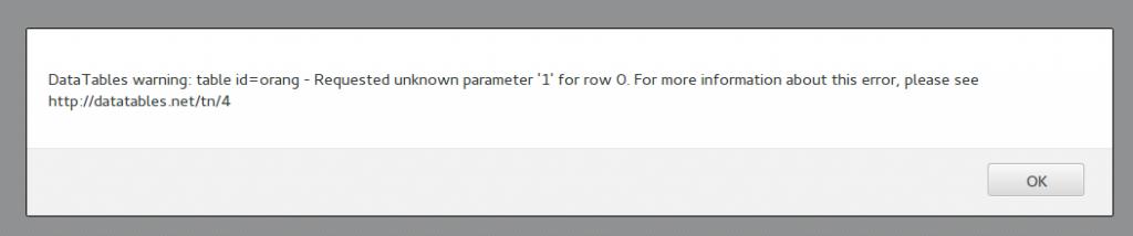 error datatables jumlah kolom