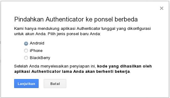 Pindahkan Authenticator ke ponsel berbeda