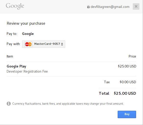 bayar google play developer. Namun, Anda dapat melanjutkan pendaftaran sementara kami memproses pembayaran di latar belakang. Kami akan memberi tahu Anda saat pembayaran selesai.