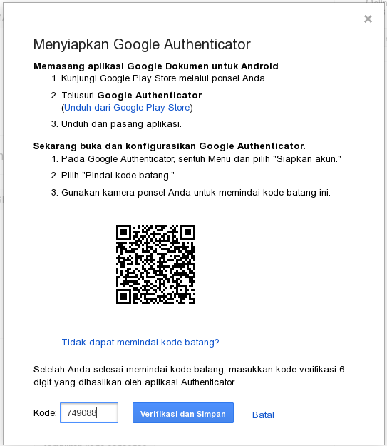 google authenticator pilih