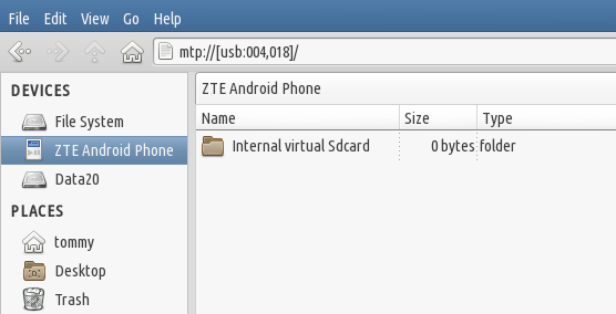 mount android di fedora 23