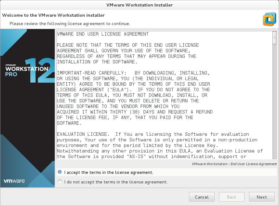 Accept EULA VMware