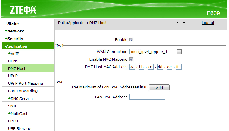 dmz mac address f609
