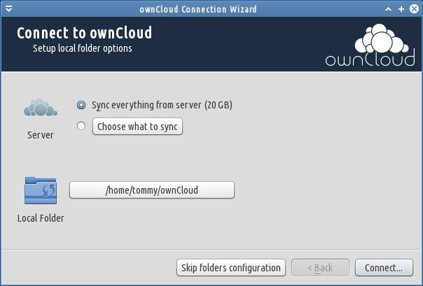 pemilihan folder owncloud