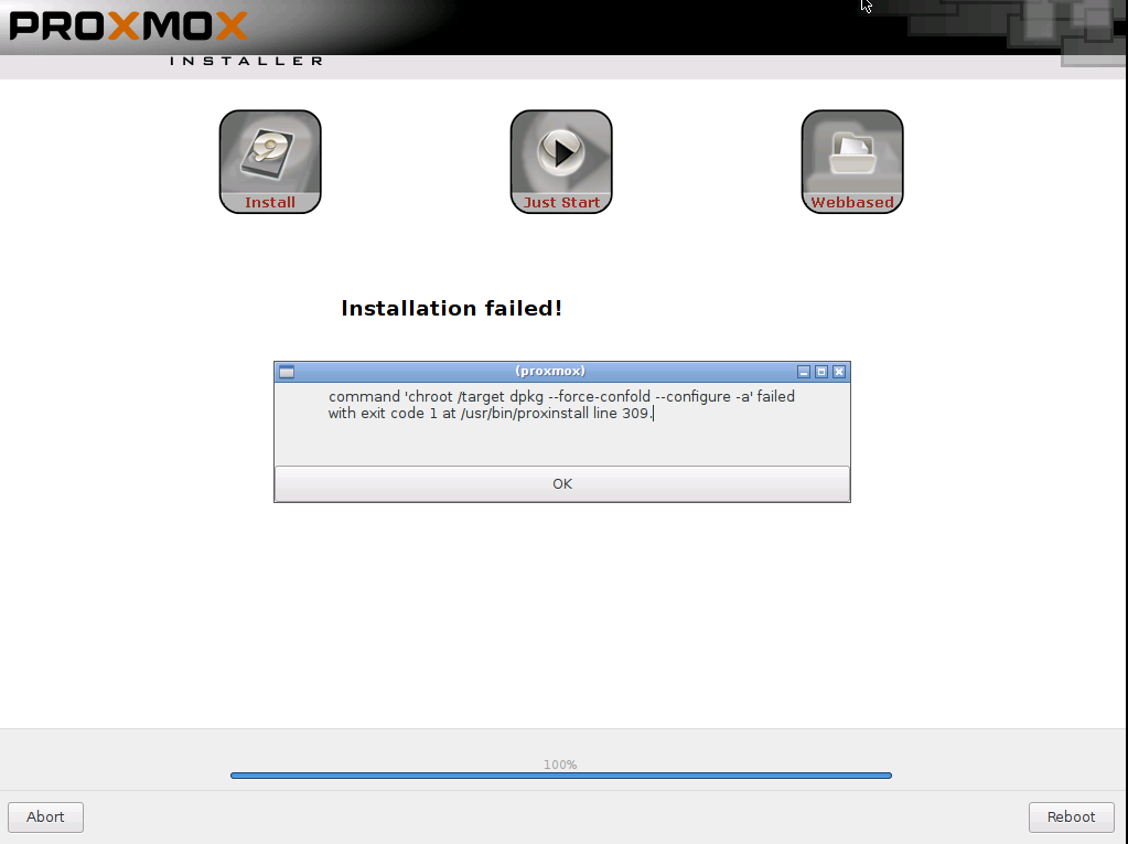 proxmox  failed install