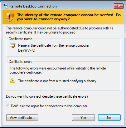 remote desktop certificate not trusted