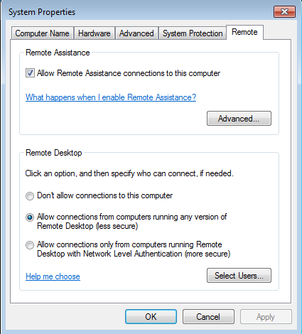 remote desktop setting windows7
