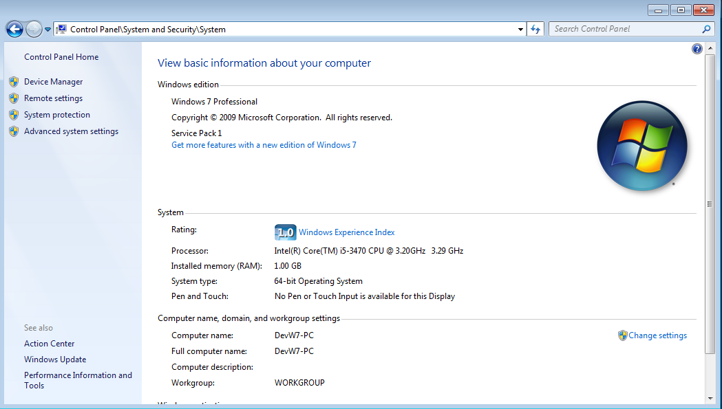 system information windows7