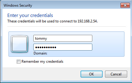 username password remote desktop