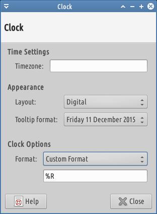 custom format xfce clock