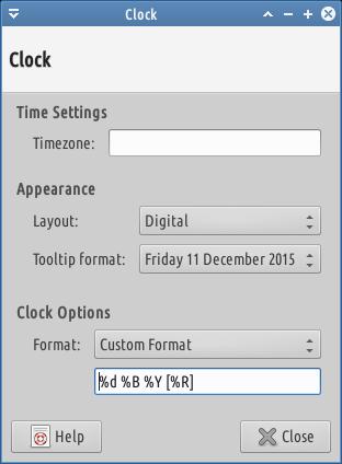 xfce clock date