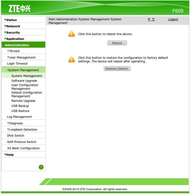 Restart Modem ZTE F609