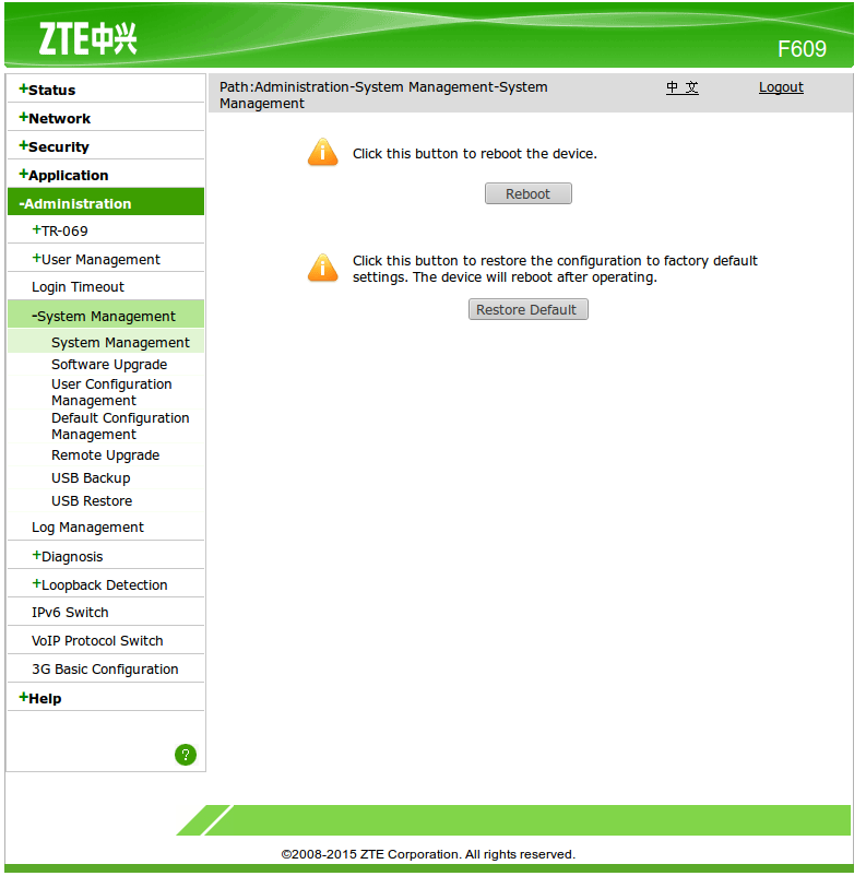 wrote cara reset password zte f609 will