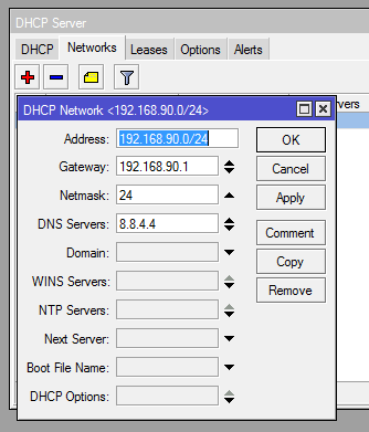 network dhcp