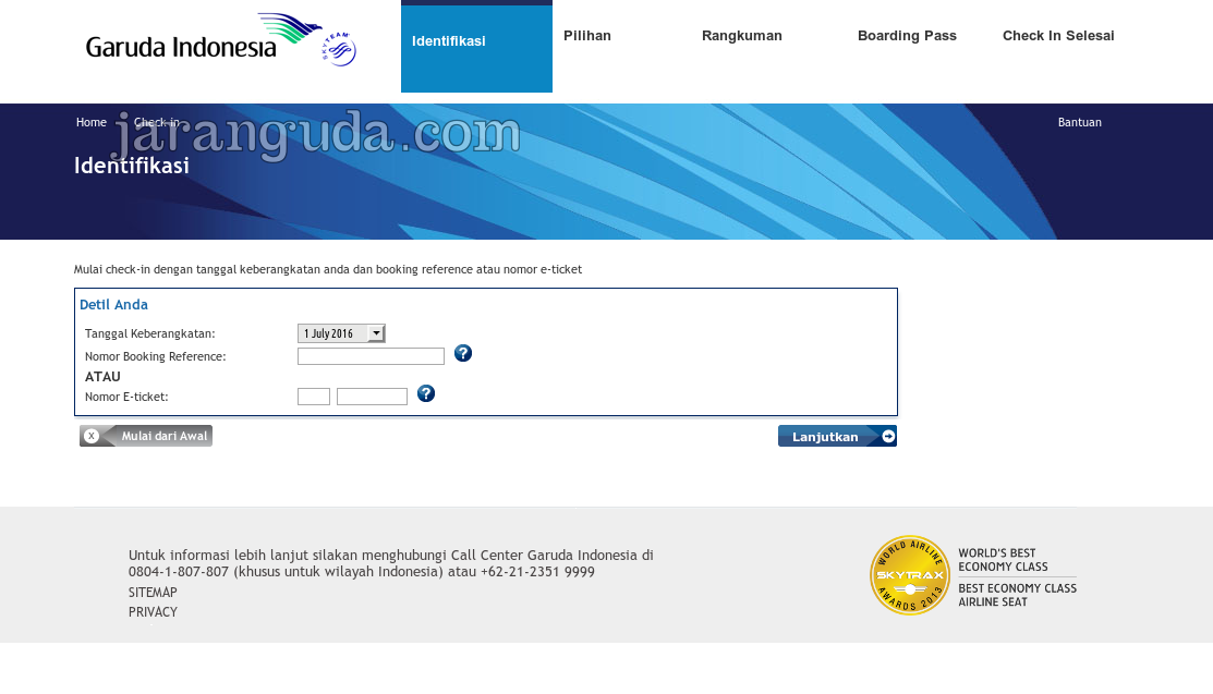 checkin garuda no booking