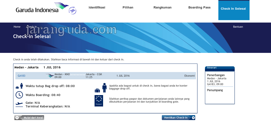 how to get online checkin boarding pass with garuda