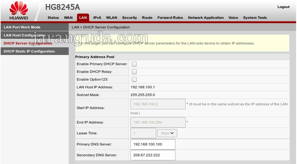 nonaktifkan dhcp server HG8245A