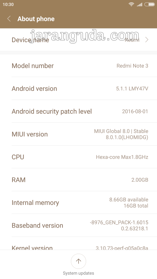Redmi Note 3 terinstall MIUI 8