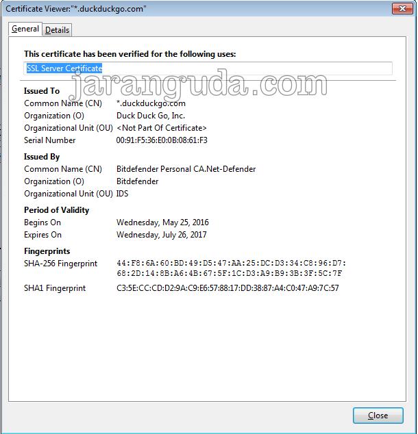 contoh ssl duckduckgo.com diambil alih oleh bitdefender