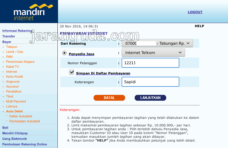 Pembayaran Indihome Telkom Speedy Lewat Internet Banking Mandiri Jaranguda
