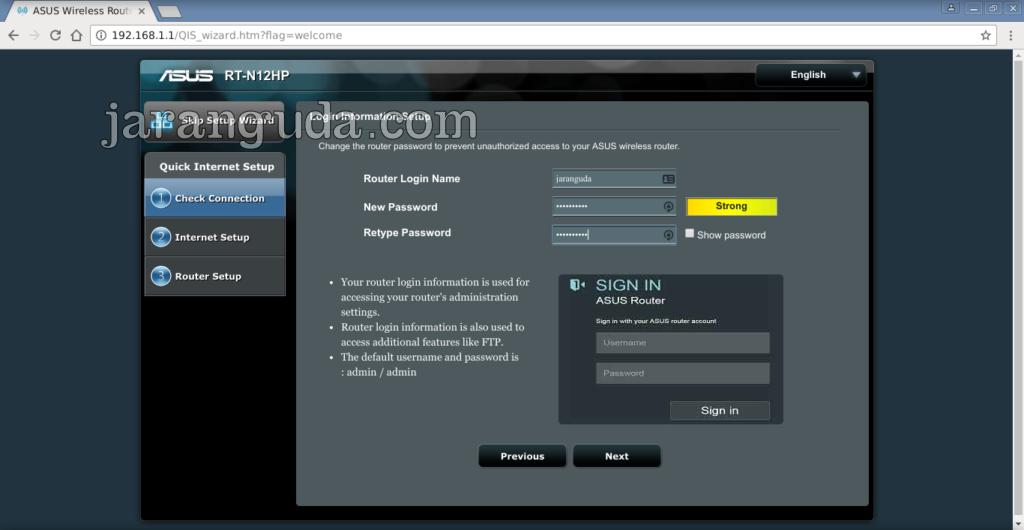 Setting Password Asus RT-N12HP