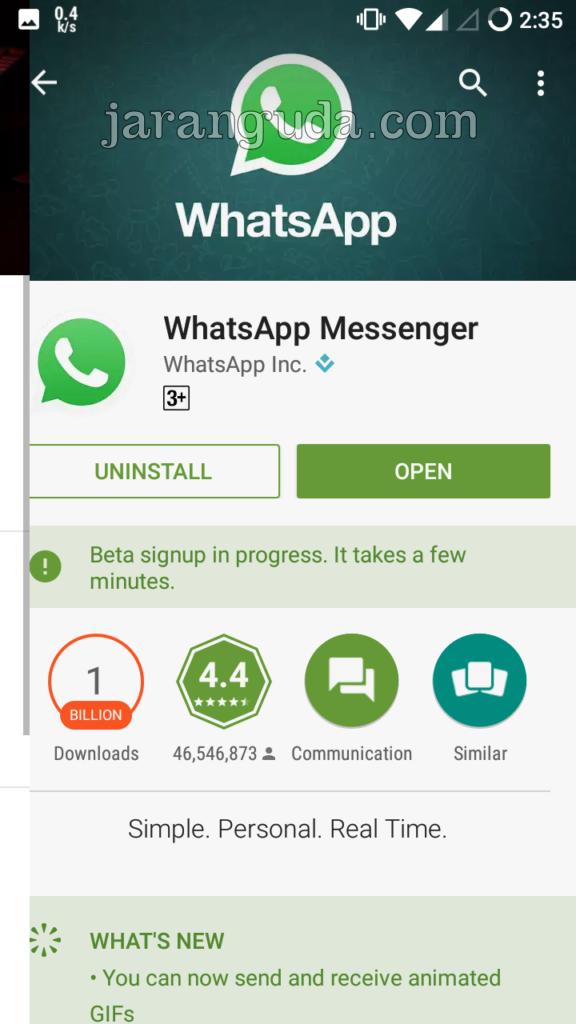 WhatsApp beta in progress