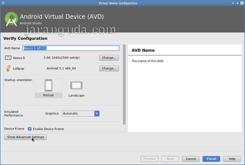 Android Studio AVD Manager - show advanced settings