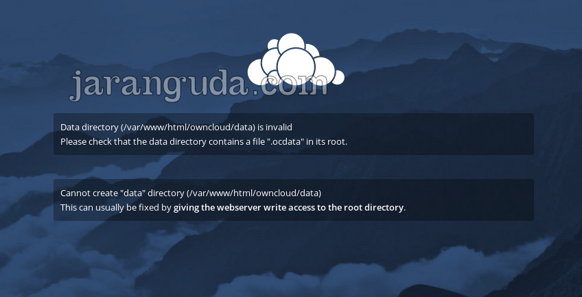 "owncloud Please check that the data directory contains a file "".ocdata"" in its root"