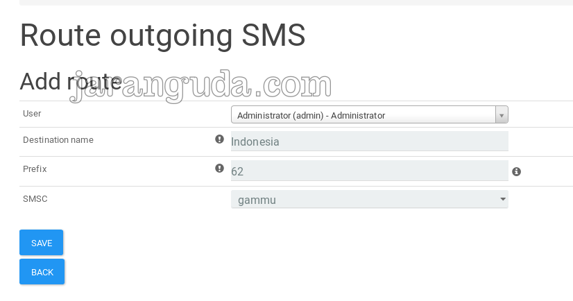 Route outgoing SMS