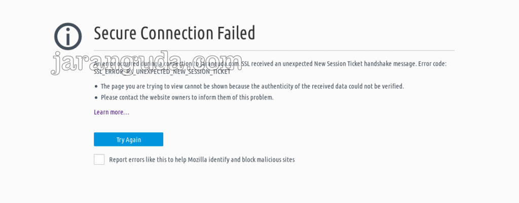 SSL_ERROR_RX_UNEXPECTED_NEW_SESSION_TICKET Firefox